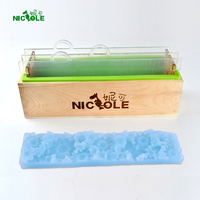 Nicole Silicone Render Loaf Soap Mold Rectangular Mould With Transparent Vertical Acrylic Clapboard Flower Mat For