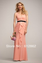 Sleeveless Low Back Pleated Chiffon Patterns For Bridesmaids Dresses