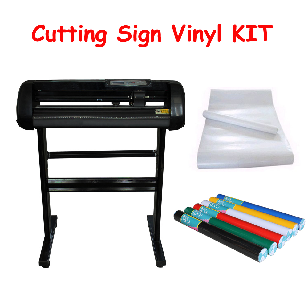 24 Vinyl Cutting Plotter Cutter Design+2Rolls Plato Sign Vinyl + 1roll Pre Transfer Vinyl KIT newest graphtec cb09 silhouette cameo holder 15pcs blades vinyl cutter plotter 30 degree hot sale