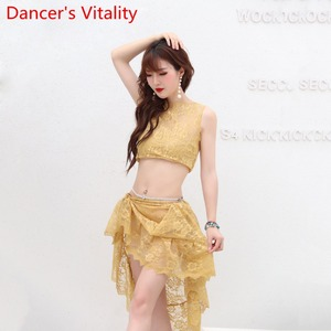 Image 4 - Belly Dance Practice Clothes 2019 New Sleeveless Top Hip Scarf Set Summer Beginner Indian Oriental Dance Wear Elegant Costume