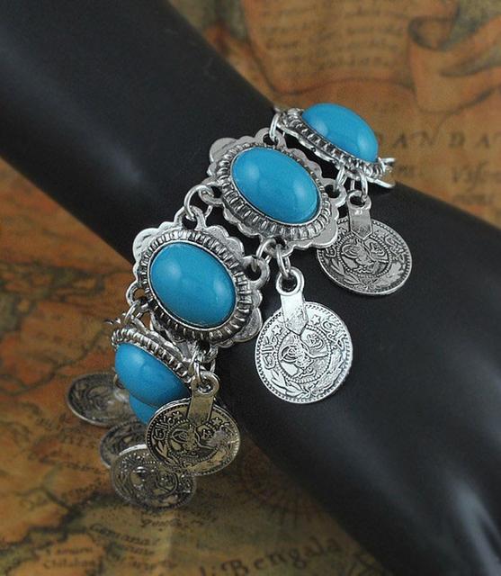 Bohemian Resin Gem Coin Tassel Bracelet Silver Gypsy Boho Coachella Festival Turkish Tribal Ethnic Jewelry Lot 10 Pcs