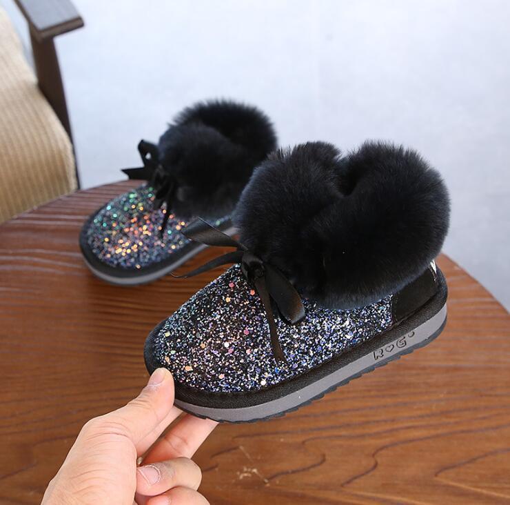 Children's shoes 2019 winter new girls rabbit fur warm cotton boots plus velvet children snow boots 3 6 years old baby boots