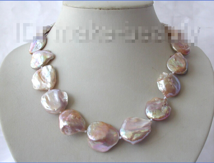 Livraison gratuite>>> superbe grand 23mm lavande baroque reborn keshi perle d'eau douce collier h80