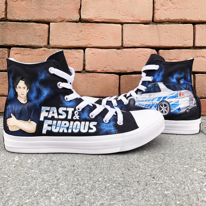 Wen High Top Canvas Shoes Customize Hand Painted Shoes Fast & Furious Design Mens Sneakers Big Size Womens Platform Plimsolls