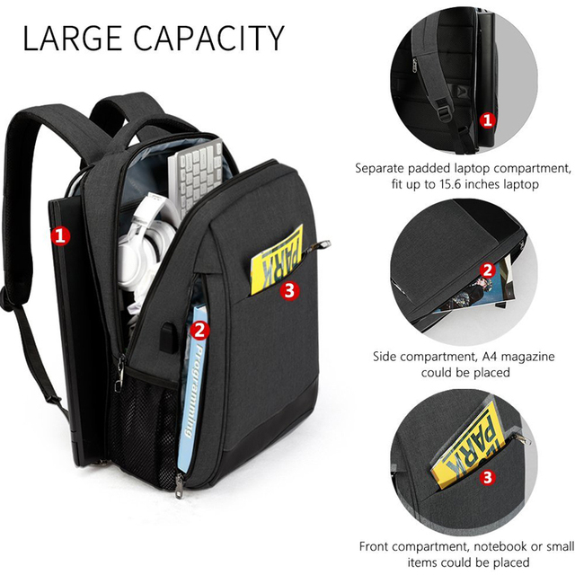 Tigernu Men's Fashion Travel Backpacks Male Anti theft USB Charging 15.6 Laptop Bag Waterproof Silm School Bag for Female Male