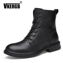 цена на VKERGB High Quality Genuine leather Autumn Winter Fashion Men Boots Vintage Style Casual Men Shoes Lace-Up Warm Plush Black Boot