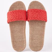 Linen Slippers Shoes Sandals House Flip-Flops Summer Flat Beach Casual Women's Solid