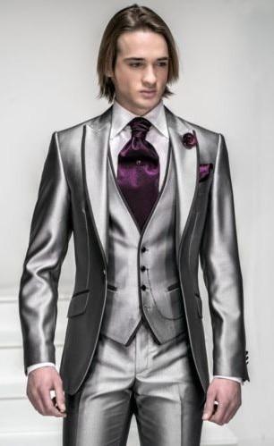 2016 Korea-Satin Bright Silver With Black Brim Man Groom Tuxedos Wedding Suits Prom/Formal Suit (Jacket+Pants+Vest+Tie)