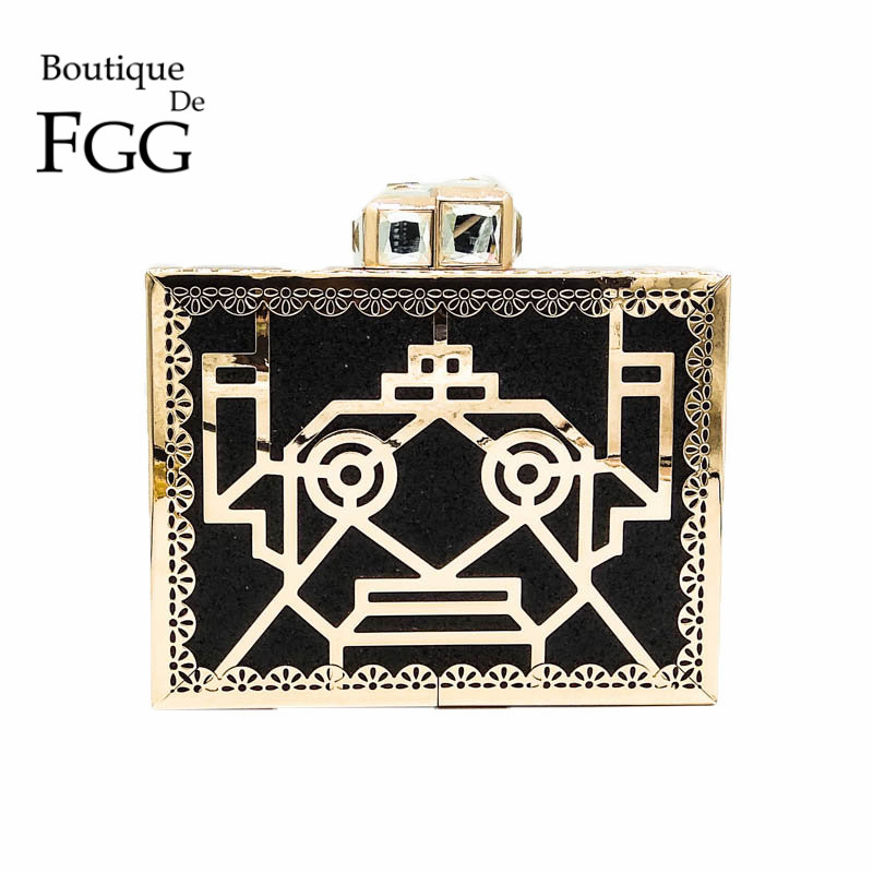 Boutique De FGG Hollow Out Robot Women Gold Metal Black Evening Purse Fashion Day Clutches Handbag Party Dinner Prom Clutch Bag new upa usb 2014 v1 3 0 14 with full adapters upa usb device programmer v1 3 auto ecu tool in stock