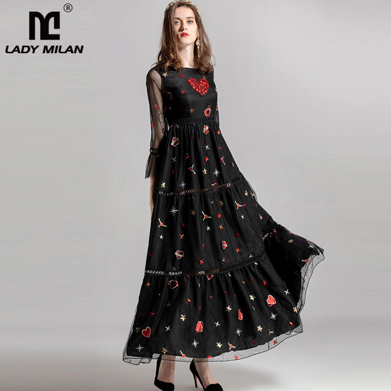 Lady Milan 2019 Women s O Neck 3 4 Sleeves Embroidery Beaded Elegant Fashion Long Casual