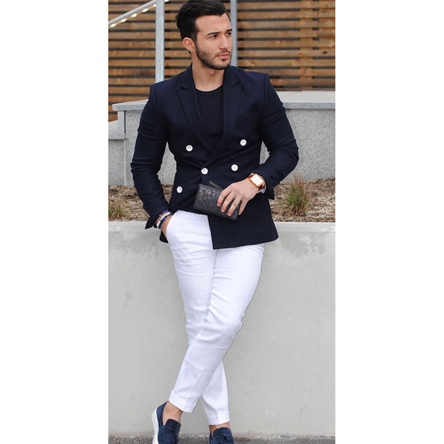 2019 Men's Slim Fit Suit Navy Blue Double Breasted Tailored Suits Casual Tuxedo Suits Men 2 Pieces Set Jacket With White Pants