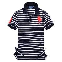 2019 Famous Brand striped polo shirt cotton mens polo shirts with short sleeve big horse logo polo homme de marque haute qualite
