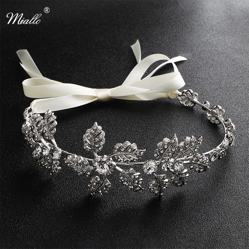 Miallo Classic Silver Color Flower Tiaras and Crowns Wedding Hair Accessories Headpieces Jewelry for Women