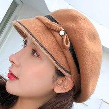 SUOGRY 2018 nueva moda boina de lana calidad marca Otoño Invierno arco  sombrero de la boina de las mujeres 13f690fa4da