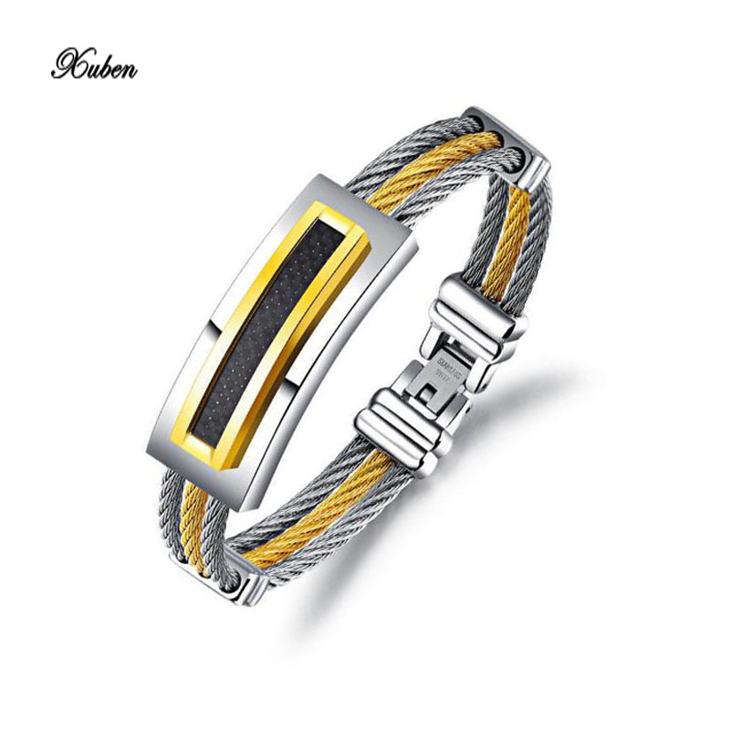 Xuben Silicone Stainless Steel Cross font b Bracelet b font Bangle For Men Silver font b