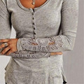 New Lace Crochet Button T Shirt Women Hollow Lace Long Sleeve T Shirts For Women Slim Casual Tops Female Tee Shirt Femme