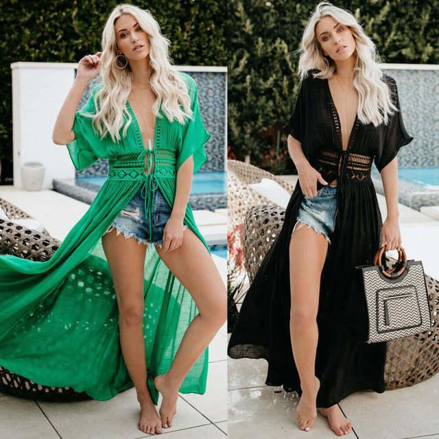 2019 Sexy Beach Dress Swimwear Women Beach Cover Up Cardigan Swimwear Bikini Cover ups Robe Plage Zaful Dress for Beach 1