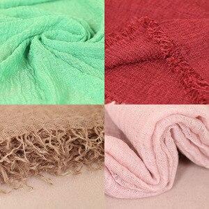Image 5 - LMLAVEN Crinkled hijab plain wrinkle bubble cotton viscose long scarf muslim head hijab shawl women large size crinkle scarves