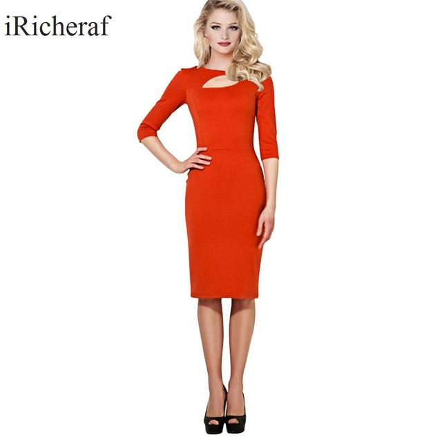 Party Dresses For Plus Size Women O Neck Half Sleeve Slim Solid Ol