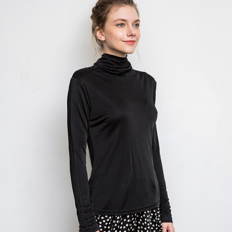 Ženska majica 100% Stvarna svila Osnovna majica s dugim rukavima - Ženska odjeća - Foto 2