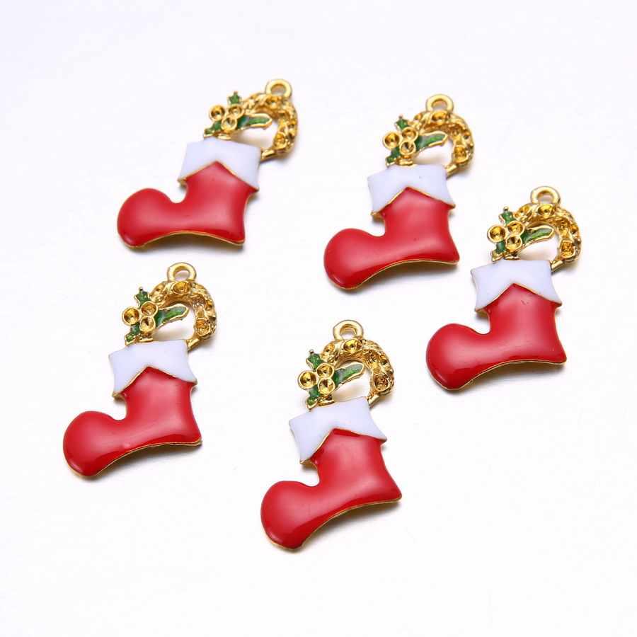 Rinhoo 9 çeşit altın takılar Mix benzersiz emaye noel takılar kolye noel ev dekorasyonu aksesuarları