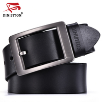 DINISITON Genuine Leather Belt For Men High Quality Metal Pin Buckle Cowskin Casual Man Designer Belts