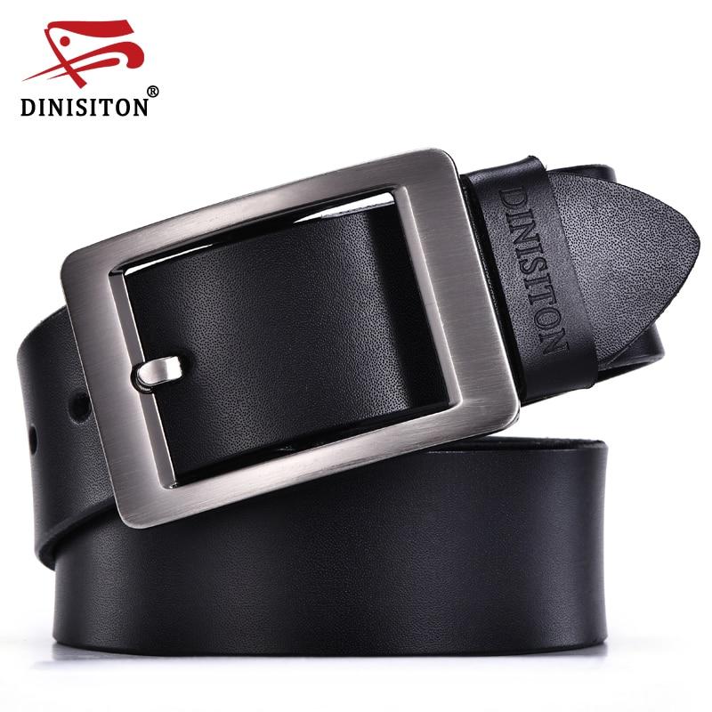 DINISITON Originální kožený opasek pro muže Vysoce kvalitní kovová spona na přezku Cowskin Casual Man Designer Belts Jean Strap Ceinture Homme
