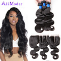 Cambodian Virgin Hair With Closure 3 Bundles Body Wave With Closure Human Hair Weave With Closure