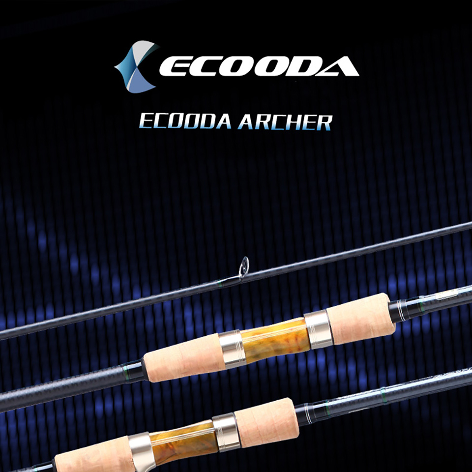 Ecooda Archer 2.1m 2.4m 2.7m Casting Spinning Lure Fishing Rod Pole Cane Soft Medium Bass Grouper Carbon Fiber Rod 2 Sections