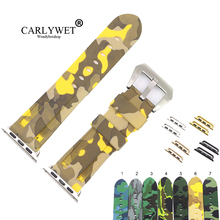 CARLYWET 38 40 42 44mm Camo Yellow Light Grey Pure Silicone Rubber Replacement Wrist Watchband Strap For Iwatch Series 4/3/2/1 цены