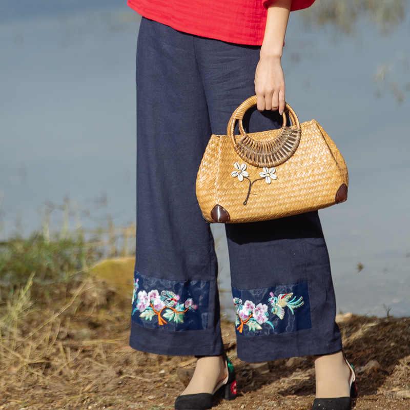 Национальный Ветер белье широкие брюки новый для женщин Ретро Вышивка свободные прямые джинсы женские повседневные