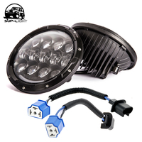2pcs Set Super Bright 12v 105w H4 7 Inch Led Headlight With White DRL Yellow Turn