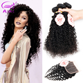 Peruvian Kinky Curly 4pcs With Closure 8A Peruvian Unprocessed Virgin Curly Hair With Closure Human Hair Extensions Closure