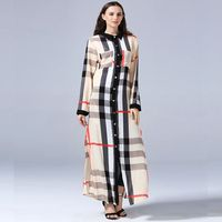2018 African Women Dress Muslim Printting Africa Maxi Dresses Plaid Patterns Casual Shirt Dresses Long Africaine