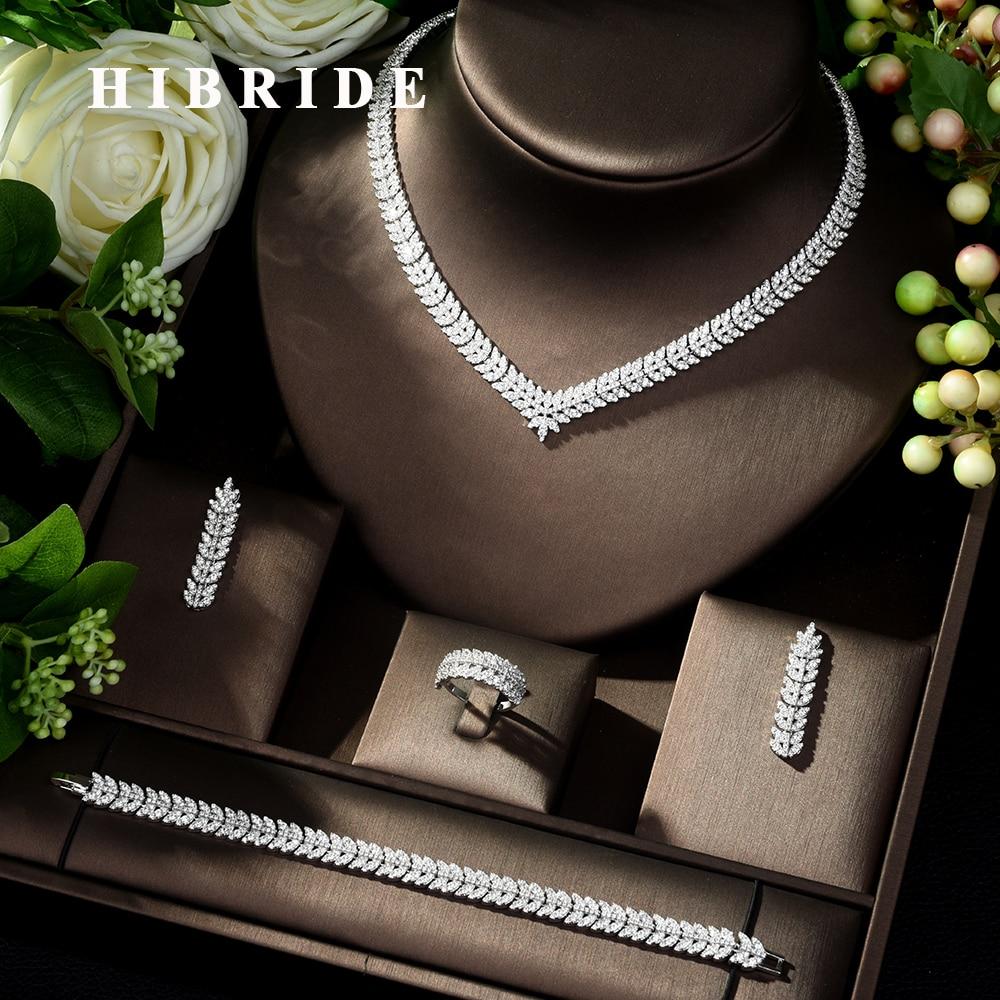 HIBRIDE New luxury Zircon Micro Pave Set Necklace Earrings Bracelet four piece Women Weeding Jewelry Set