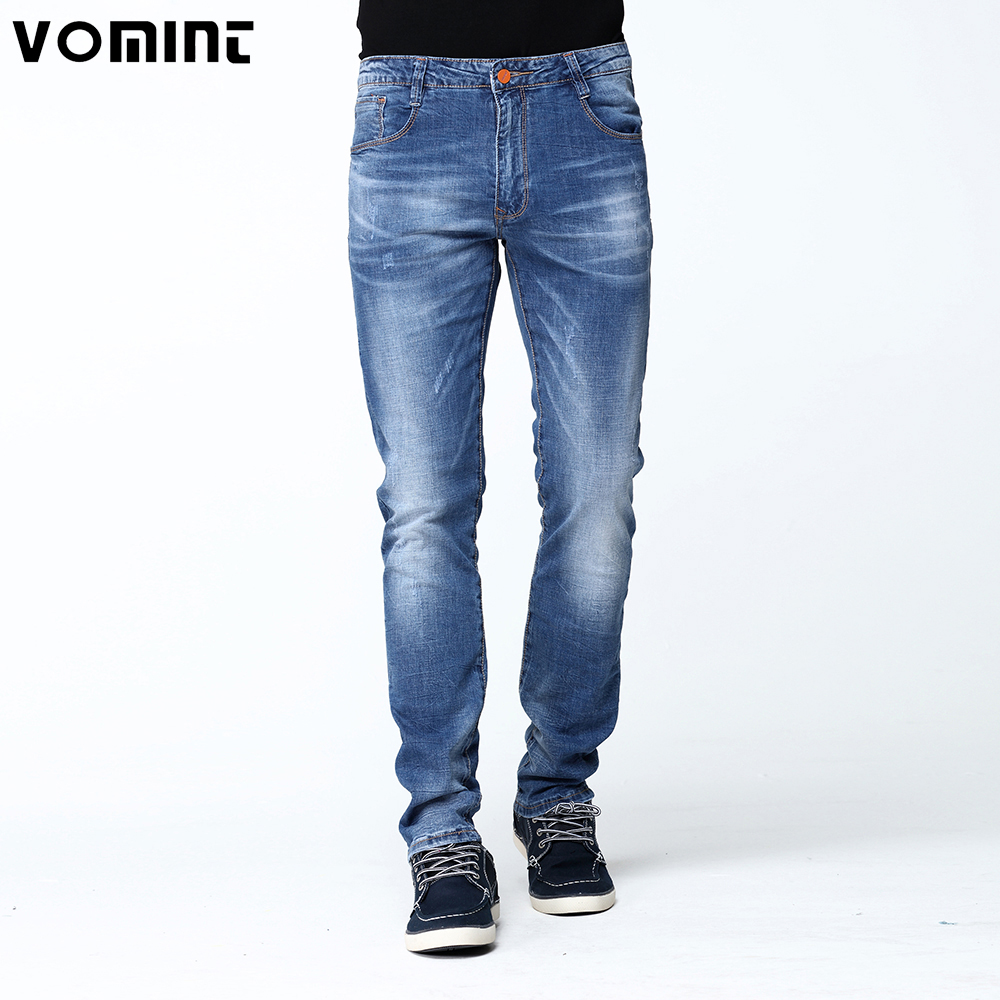 2017 New Summer Mens Youth Jeans Stretch Elastic Fabric Badge Detail Washed Skinny Jean Slim Denim Pants Male Lightblue V7S1J018