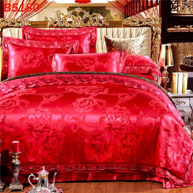 Merveilleux New Arrival Red Flower Silk Bedding Set Wedding Queen Silk Linen King Size Silk  Bed Set