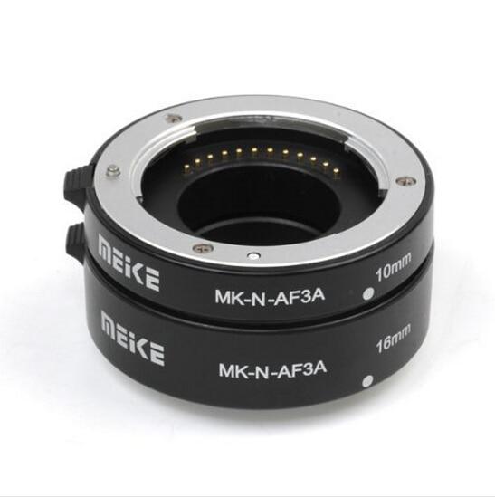Hot Sale Meike MK-N-AF3A Metal Mount Automatic AF Auto Focus Macro Extension Tube Ring for Nikon 1 S1 J3 V2 J2 AW1 Lens Adapter цена 2017