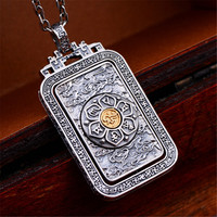 HFANCYW Pure S925 Silver Fashion Man's Pendant Necklace Buddhist Six Words Vajra Exquisite Tai Silver Craft Jewelry Wholesale