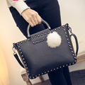 Big Bags 2017 New Women Handbag Leather Tote Bag Simple Rivet Feather Ball Shoulder Messenger Bags
