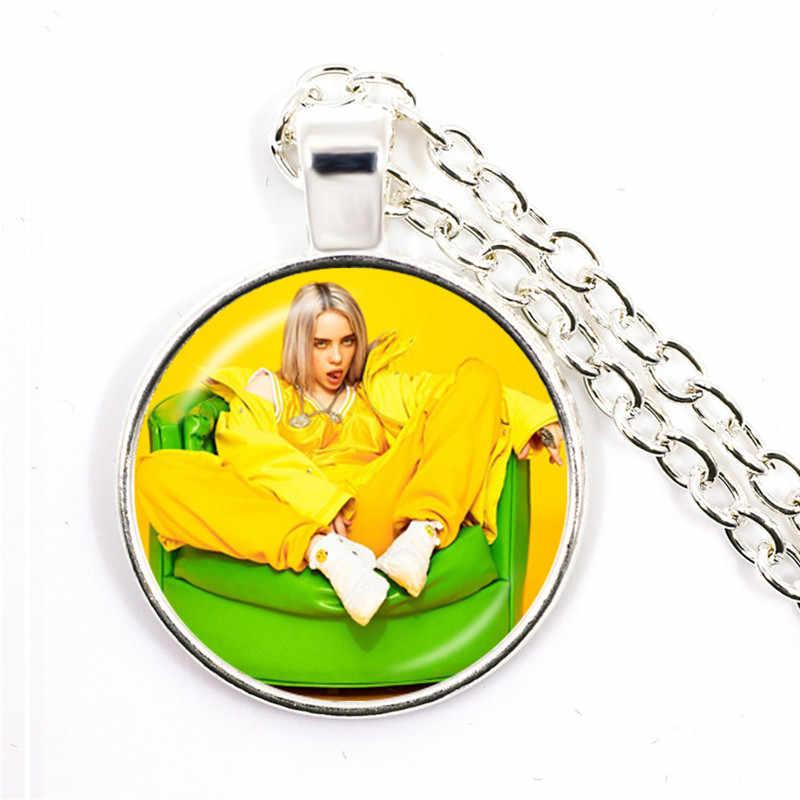 ファッション 25 ミリメートルガラスカボションネックレスビリー eilish 手作り人気ヒップホップ歌手トレンディペンダント用女性ファンのギフト