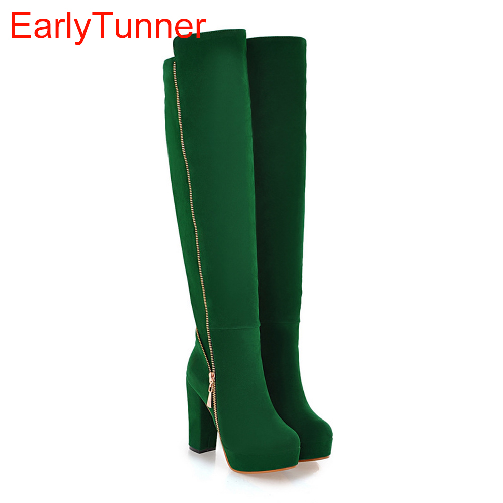 Sales Hot Elegant Black Army Green Women Over Knee Thigh High Snow Boots Ladies Shoes AI116 High Heels Plus Big size 10 43 все цены