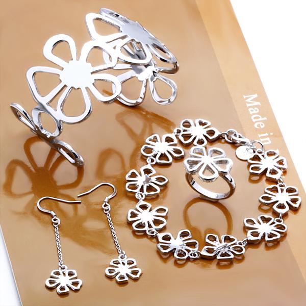 S235 Frete Grátis, por atacado conjunto de jóias de prata, pequena flor jóias, de alta qualidade, Nickle livre antialérgico, preço de fábrica