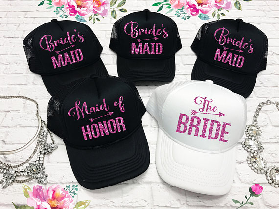 customize wedding bride bridesmaid Matron Maid of honor Bachelorette Mesh  Trucker Snapback trucker hats caps party favors gifts 3633501aa96