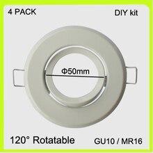 DIY KIT 4 PACK frame for GU10 MR16 GU5.3 bracket support stand metal led spotlight  holder round dia50mm easy install.