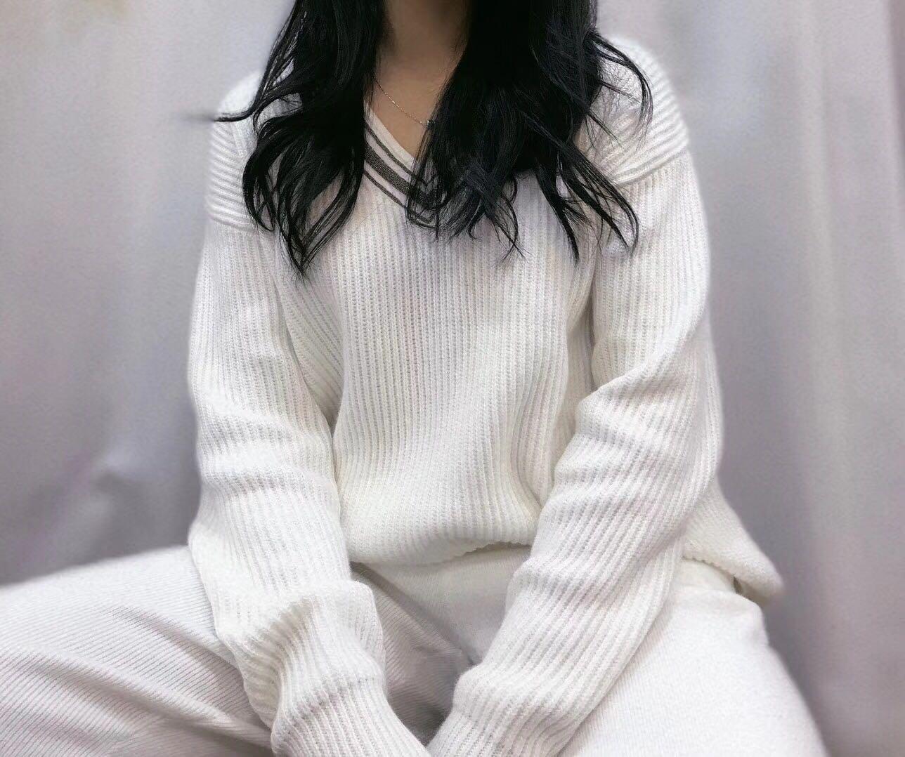 2019 Fibra De Bambu Lã Cashmere Terno de Inverno das Mulheres Novas Com Decote Em V Lanterna Mangas Casual Knit Two piece Mulheres 2 peças de Roupas Para