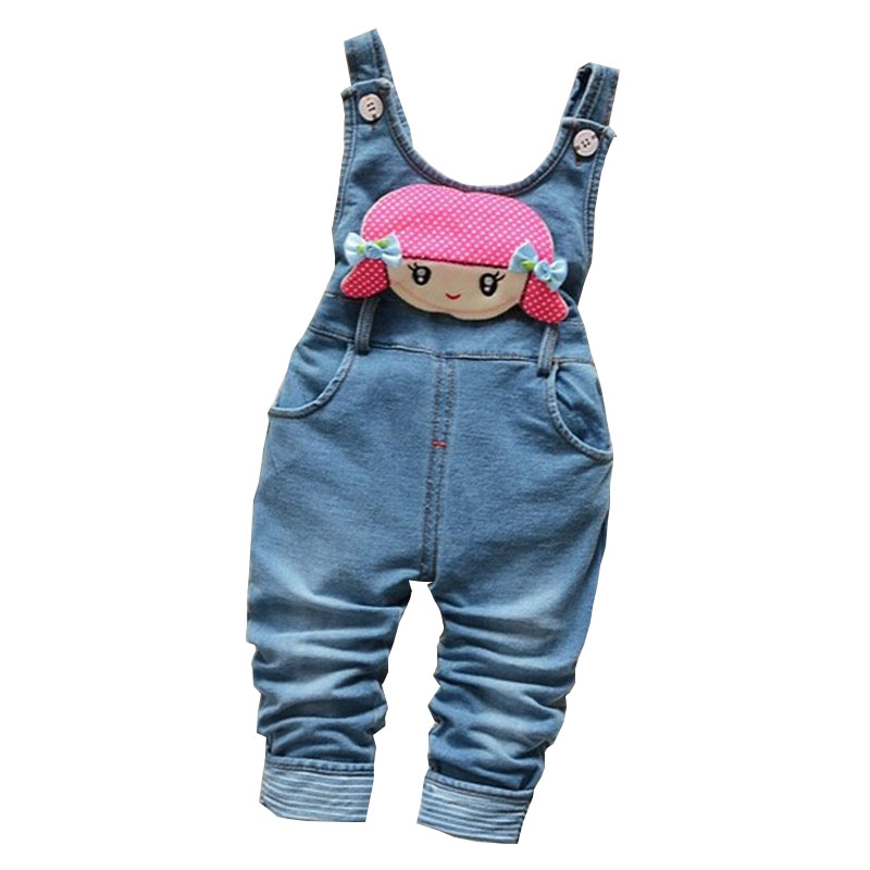 BibiCola Baby Girl Pants Children Spring Autumn Girls Cute Cartoon Cowboy Suspender Denim Trousers Infant Jeans Toddler Jumpsuit