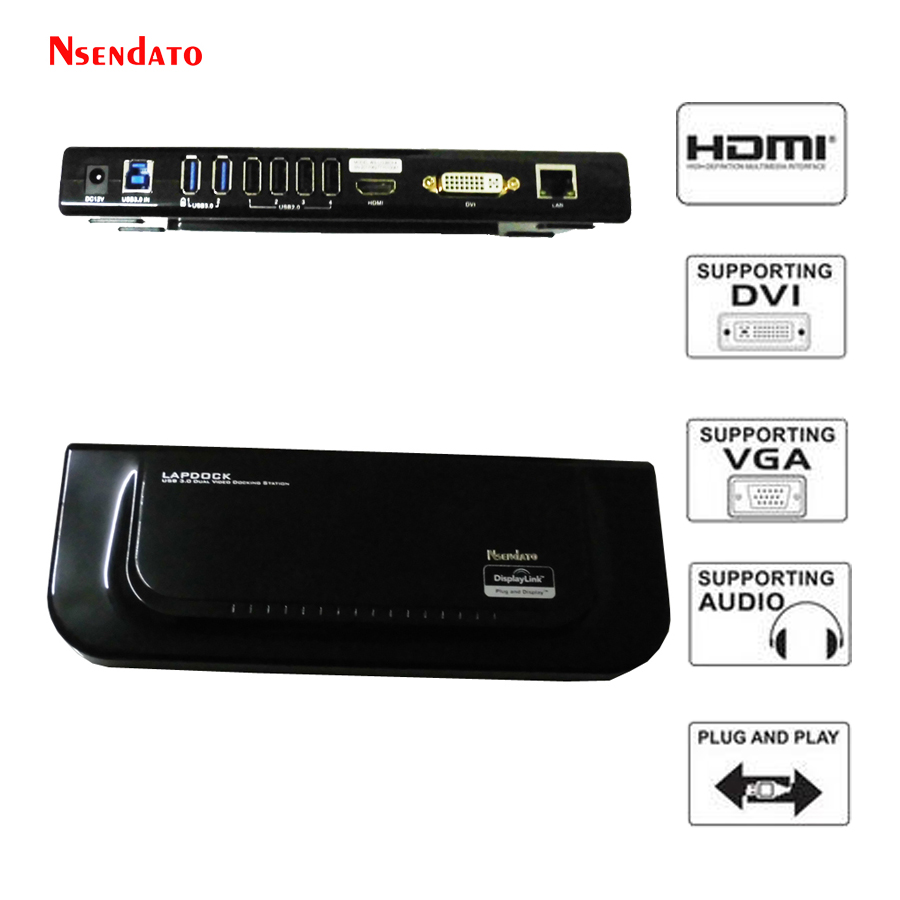 все цены на USB 3.0 USB 2.0 Universal Dock Station Dual Video Display support HDMI/DVI/VGA For Gigabit Ethernet Monitor Earphone & Mic онлайн