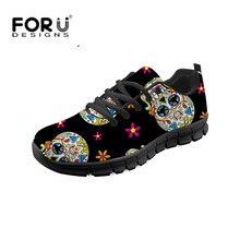 FORUDESIGNS Vintage cráneo 3D imprimir para chicas transpirables Zapatos de las mujeres de la moda de encaje casual-zapatillas de deporte de la malla de luz Zapatos planos Zapatos
