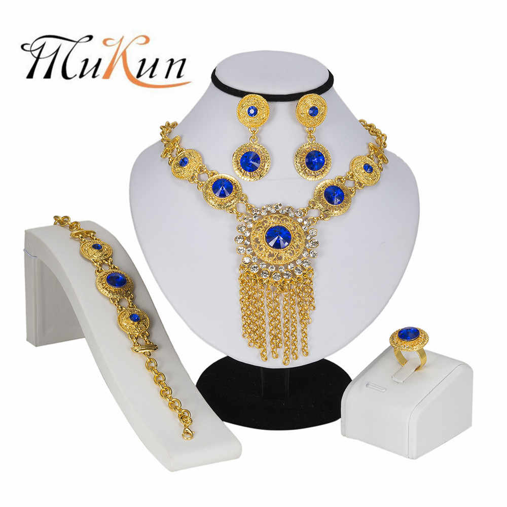 MUKUN Fashion Ethnic Boho Jewelry Set Gold Color Nigerian Bridal Wedding Bijoux African Beads Jewellery Sets Parure Bijoux Femme